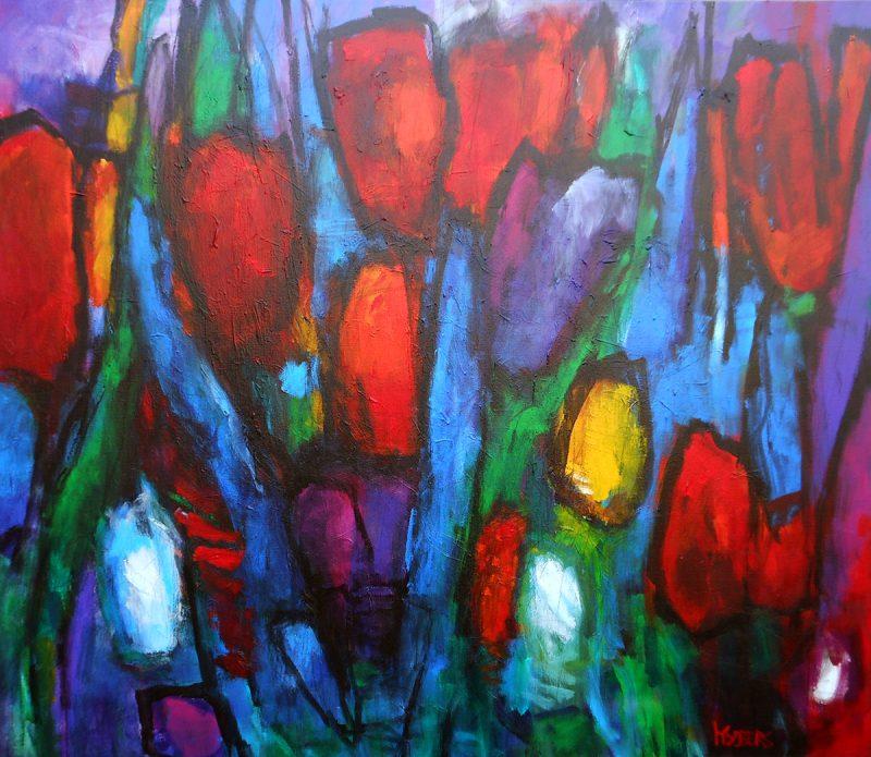 Harrie Sijbers, tulpen 120x140 cm